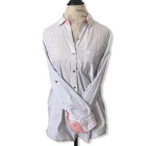 Seven7 Button-Up Blue Pinstripe Top with Pink Cuff